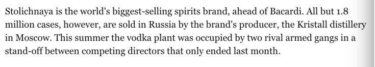 Stolichnaya bigggest brand ahead of Bacardi gangs, Kristall